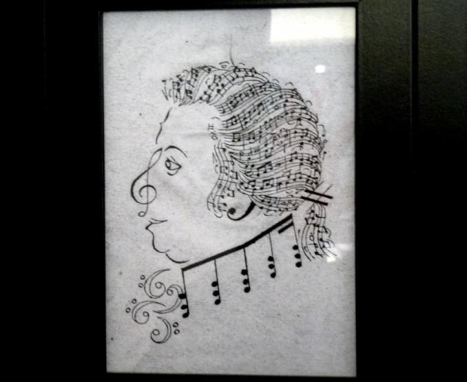 Mozarthaus Salzburg: Zeichnung des Musikers