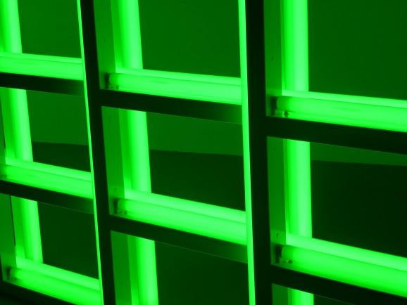 Light installation by artist Dan Flavin