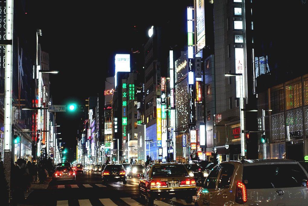 Tokio Ginza bei Nacht