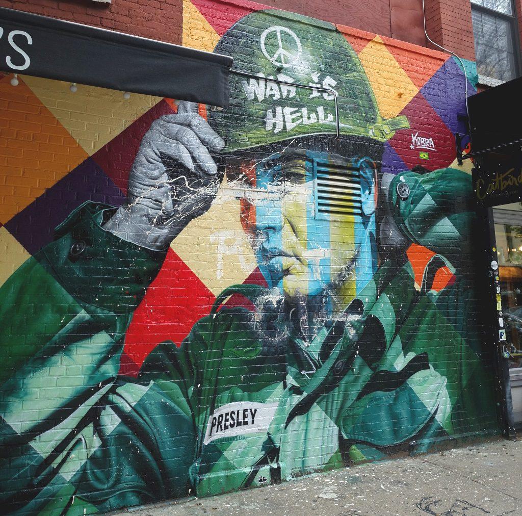 Street Art New York: Elvis Presley mural,  Eduardo Kobra
